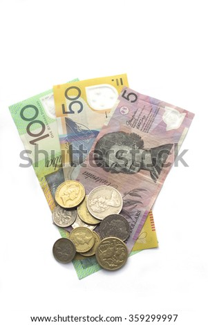 Australian coins and banknotes - stock photo