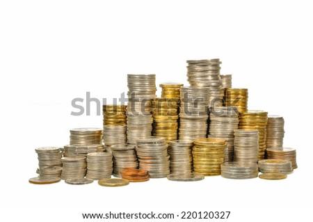 Australian coins arranged isolated on  white background - stock photo