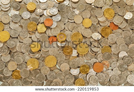 Australian coins, the background - stock photo