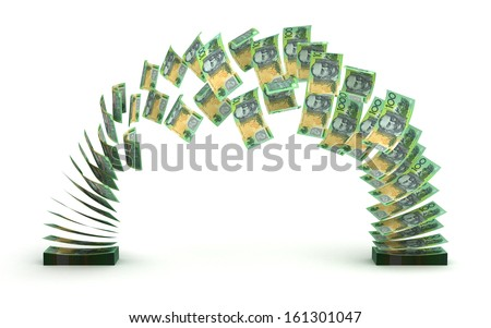 Australian Dollar Transfer (isolated with clipping path) - stock photo