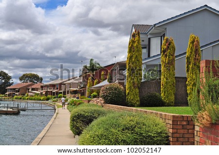 Australian family house on the lake - stock photo