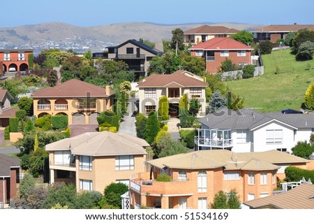 Australian family houses on the hills - stock photo