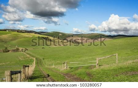 Australian farmland green hills - stock photo