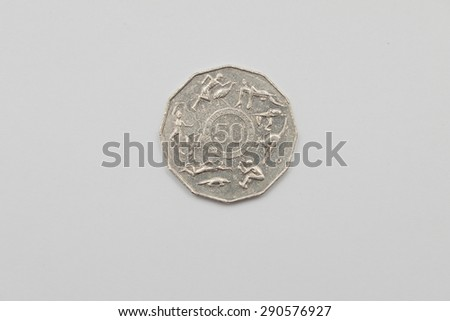 Australian 2005 Fifty Cent coin - Tails Melbourne 2006 xvii commonwealth games - stock photo