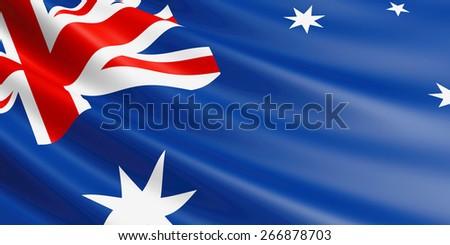 Australian flag fluttering in wind. - stock photo
