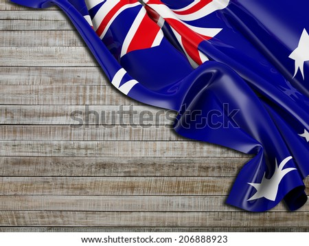 Australian Flag folded with horizontal wood - stock photo