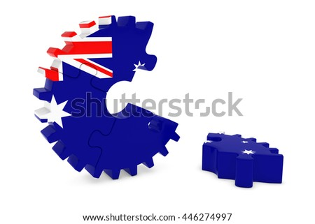 Australian Flag Gear Puzzle with Piece on Floor 3D Illustration - stock photo