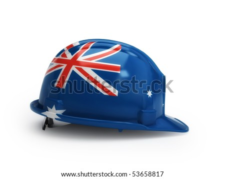 Australian flag on construction helmet - stock photo