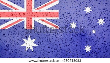Australian flag. Raindrop background. - stock photo