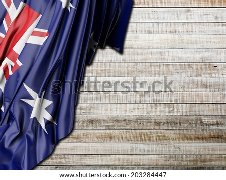 Australian Flag with horizontal wood - stock photo