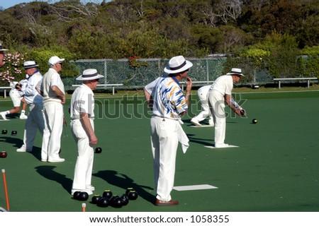 Australian Gentlemen Lawn Bowling - stock photo