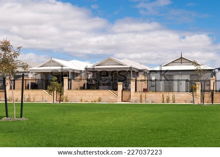 Australian houses in a newly build suburb - stock photo