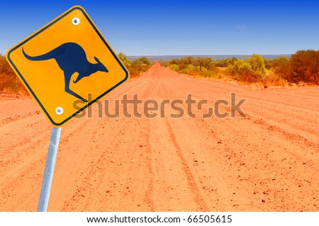 Australian kangaroo roadsign in red outback landscape - stock photo
