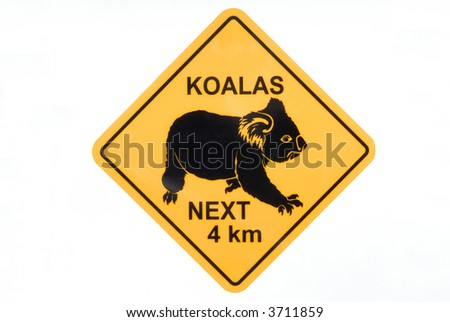 Australian koala road sign warning  - stock photo