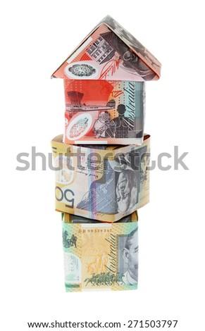 Australian Money - Aussie currency house on blocks - stock photo