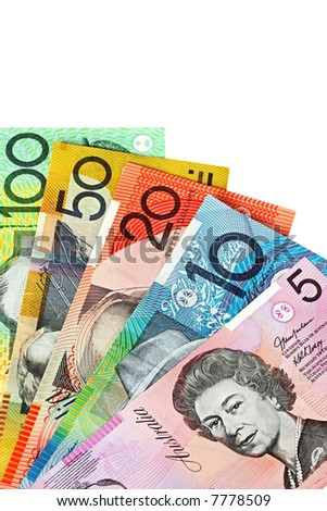 Australian money, fanned on a white background. - stock photo