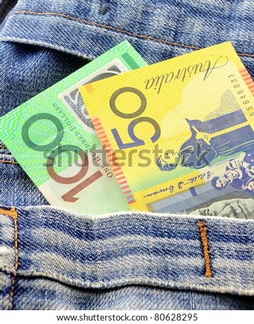 australian money in jeans pocket - stock photo