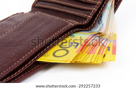 australian money in the wallet - stock photo