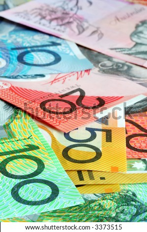 Australian money - notes form a full-fram background, with focus on front notes. - stock photo