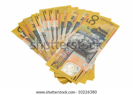 Australian money on white background - stock photo