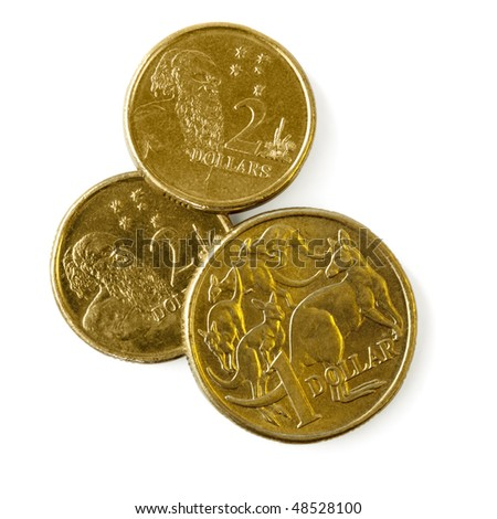 Australian one dollar and two dollar coins, isolated on white with soft shadow. - stock photo