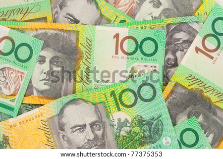 Australian One Hundred Dollar ($100) Banknotes Background - stock photo