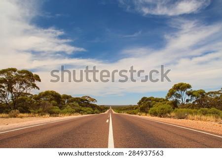 Australian outback road - stock photo