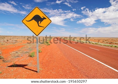 Australian road in the desert - stock photo