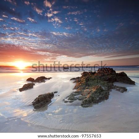 australian seascape at sunset (snapper rocks, coolangatta, queensland, australia) - stock photo
