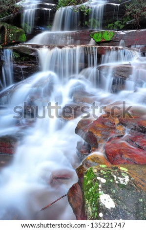 Australian waterfall Somersby Falls , Gosford, New South Wales, Australia. mystic serene flowing tropical rainforest stream river - stock photo