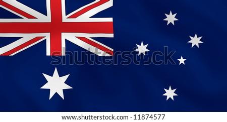 Australian waving flag - stock photo
