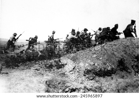 Australian WWI troops charging near a Turkish trench. When they got there, the Turks had retreated. Dardanelles Campaign, WWI. 1915. - stock photo