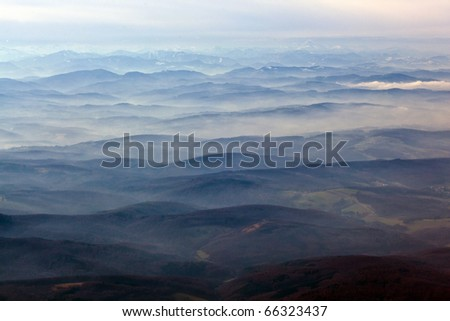 Austria, aerial view of the  Alps - stock photo