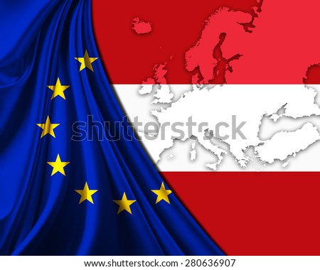 Austria and European Union Flag with Europe map background - stock photo
