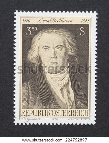 AUSTRIA - CIRCA 1970: a postage stamp printed in Austria showing an image of Ludwig van Beethoven, circa 1970.  - stock photo