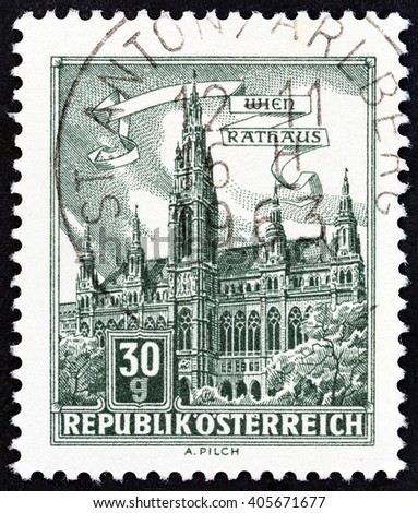 """AUSTRIA - CIRCA 1962: A stamp printed in Austria from the """"Buildings"""" issue shows Vienna Town Hall, circa 1962. - stock photo"""