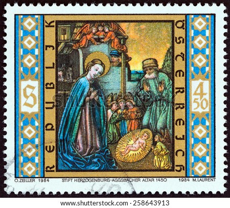 "AUSTRIA - CIRCA 1984: A stamp printed in Austria from the ""Christmas "" issue shows Holy Family (detail, Aggsbach Old High Altar, 1450), circa 1984.  - stock photo"