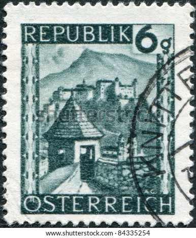 AUSTRIA - CIRCA 1945: A stamp printed in Austria, is shown Hohensalzburg Castle (Festung Hohensalzburg), circa 1945 - stock photo