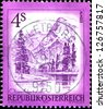 "AUSTRIA - CIRCA 1973: A stamp printed in Austria shows Aimsee, Upper Austria, , from the series ""Sights in Austria"", circa 1973 - stock photo"
