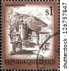 "AUSTRIA - CIRCA 1975: A stamp printed in Austria shows Kahlenbergerdorf, from the series ""Sights in Austria"", circa 1975 - stock photo"