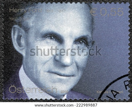 AUSTRIA - CIRCA 2003: A stamp printed in Austria shows portrait of Henry Ford (1863-1947), Ford Motor Company century, circa 2003 - stock photo