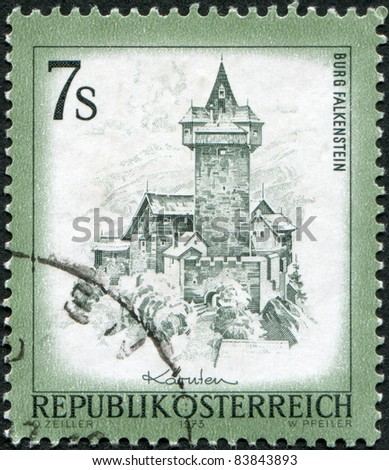 AUSTRIA - CIRCA 1973: A stamp printed in Austria, shows the Falkenstein Castle, Carinthia, circa 1973 - stock photo