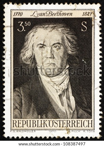 AUSTRIA - CIRCA 1970: a stamp printed in the Austria shows Ludwig van Beethoven, Composer and Pianist, Painting  by Georg Waldmuller, circa 1970 - stock photo