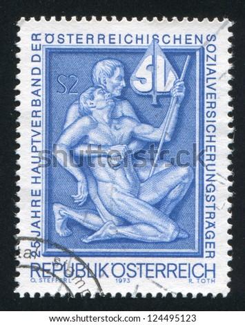 AUSTRIA - CIRCA 1973: stamp printed by Austria, shows �¢??Support�¢?�, circa 1973 - stock photo