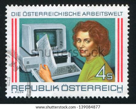 AUSTRIA - CIRCA 1987: stamp printed by Austria, shows woman and computer, circa 1987 - stock photo