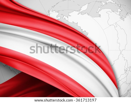 Austria  flag of silk with copyspace for your text or images and world background - stock photo