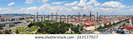 Austria. Vienna. View from the Ferris wheel in Vienna's Prater Park - stock photo
