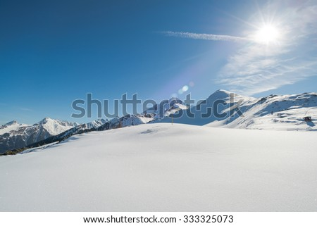 Austrian Alps in the winter, Mayrhofen ski resort - panoramic view - stock photo