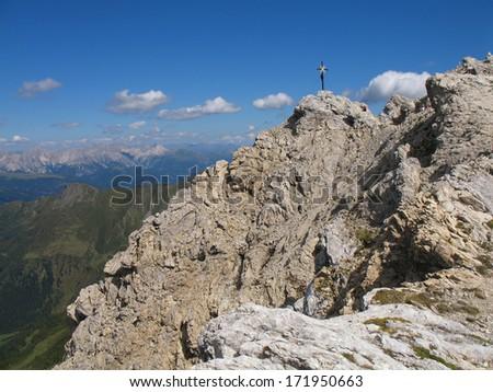 Austrian Alps, Italian Alps, Carnic Alps, mountain cross - stock photo