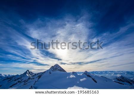 Austrian Alps Mayrhofen Hintertux Glacier - stock photo